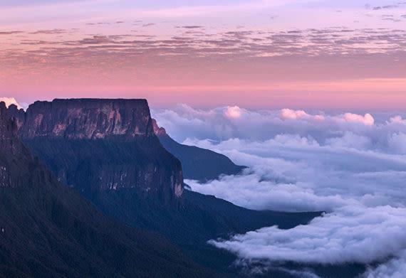 pink and purple sunset on mount roraima in venezuela