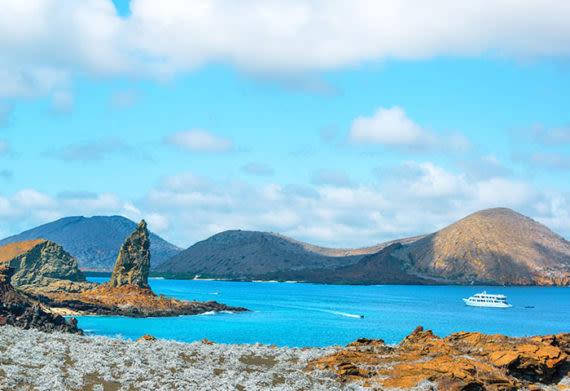 cruise ship approaching pinnacle rock