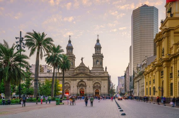 plaza de armas and cathedral in chile