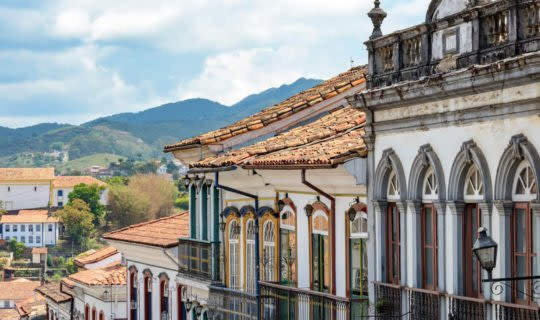 Ouro Preto buildings and distant church
