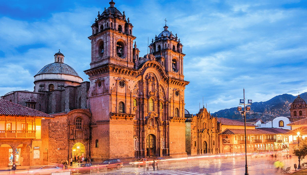 Grand Cathedral in Cusco at dusk