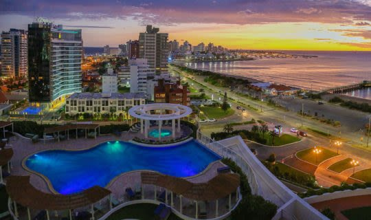 Aerial and sunset view of Punta del Este