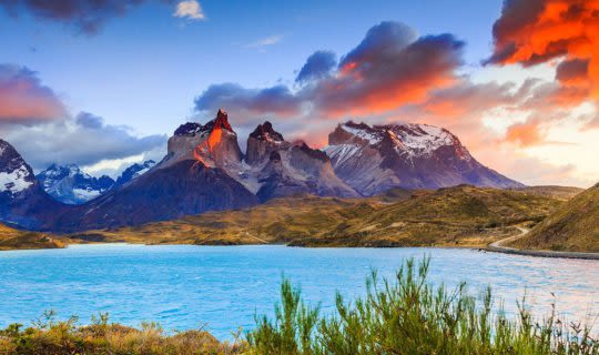 Torres del paine mountain during sunset
