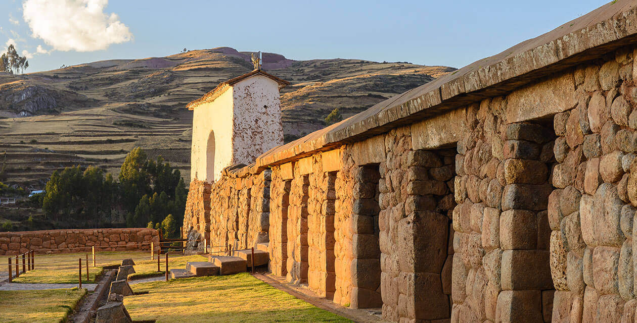 the square of chinchero during sunset