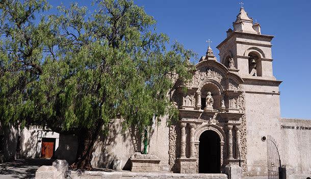 colonial church in yanahuara neighborhood