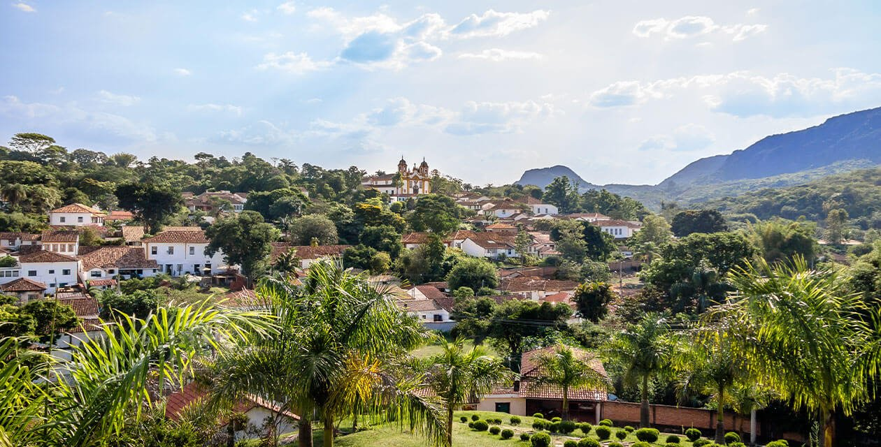 Tiradentes distant shot of town on hill