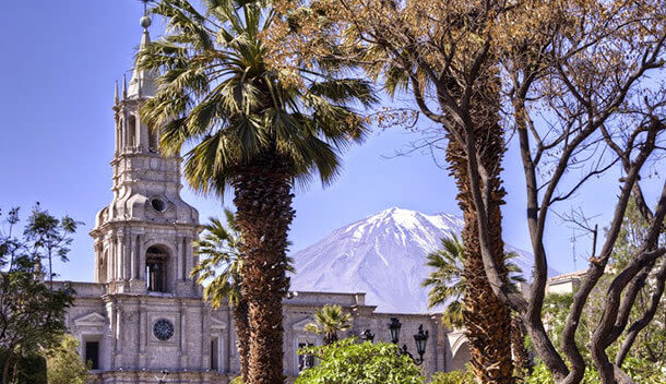 el misti volcano behind the white arequipa cathedral