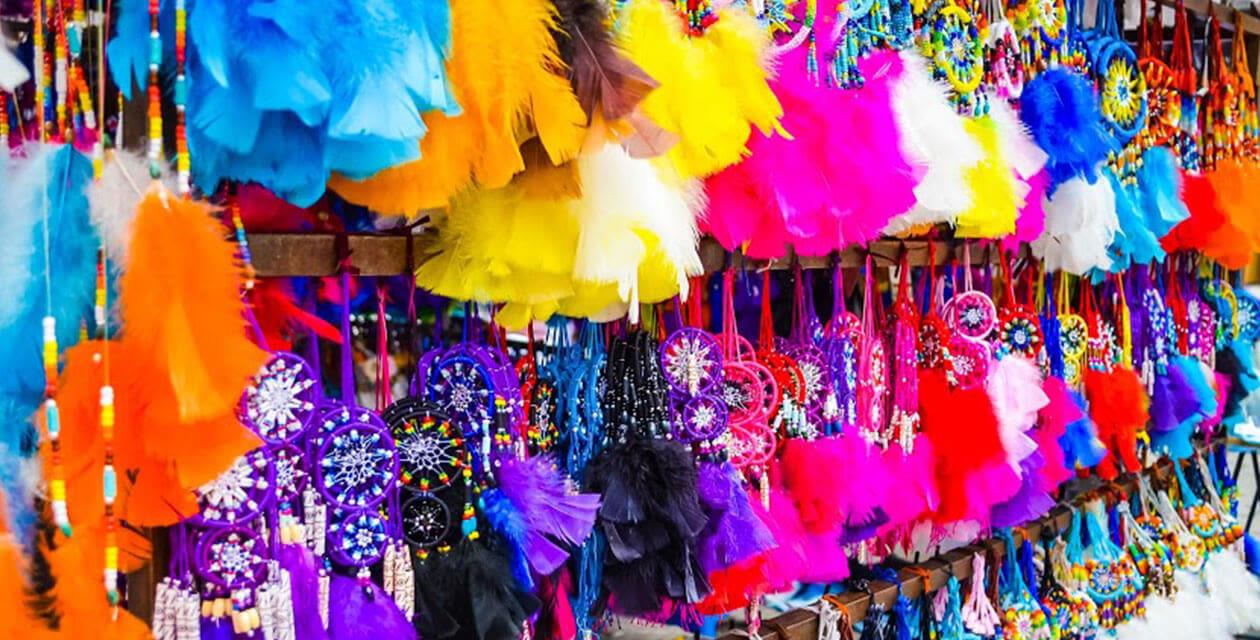 colorful goods at the otavalo market in ecuador