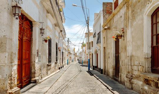 quaint street in a neighborhood of arequipa