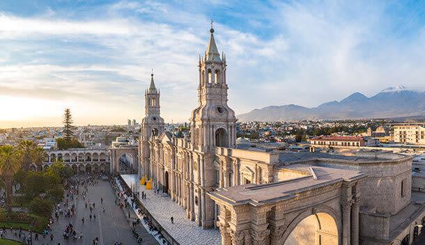 side view of plaza de armas arequipa