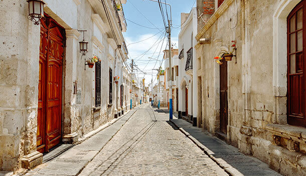 quaint street in the yanahuara neighborhood