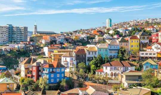 colorful buildings on a hill in valparaiso