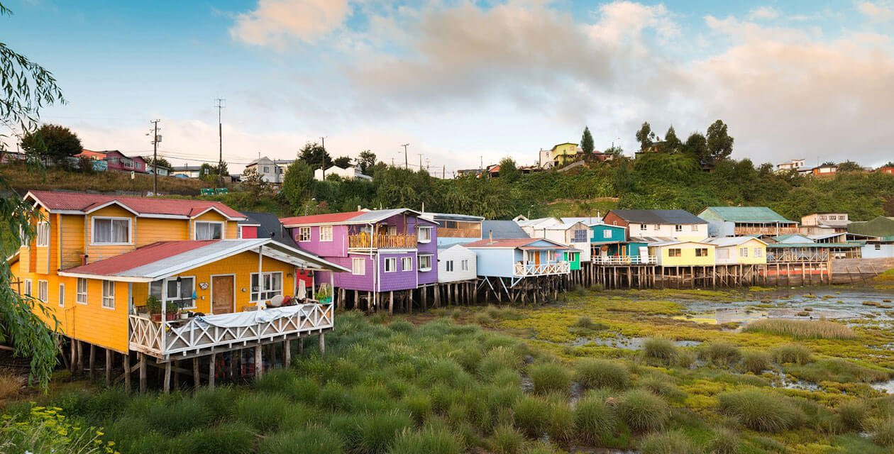 houses on stilts in chiloe island