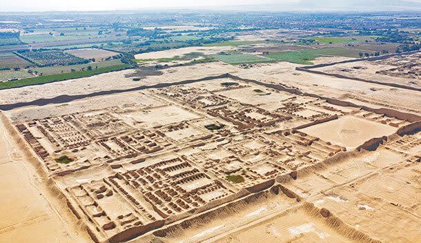 aerival view of ancient chan chan ruins
