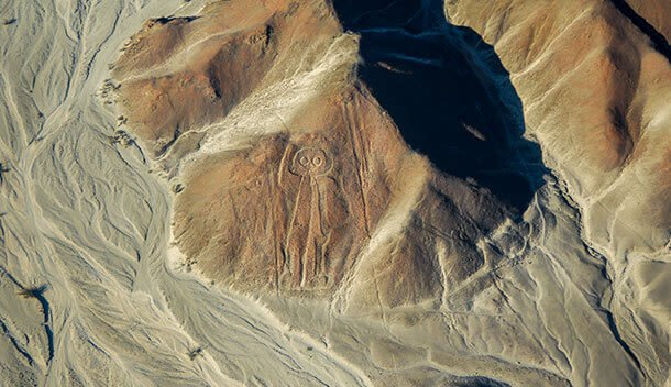 aerial view of the owl nazca lines