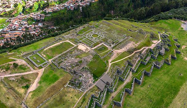 aerial view of sacsahuayman ruins