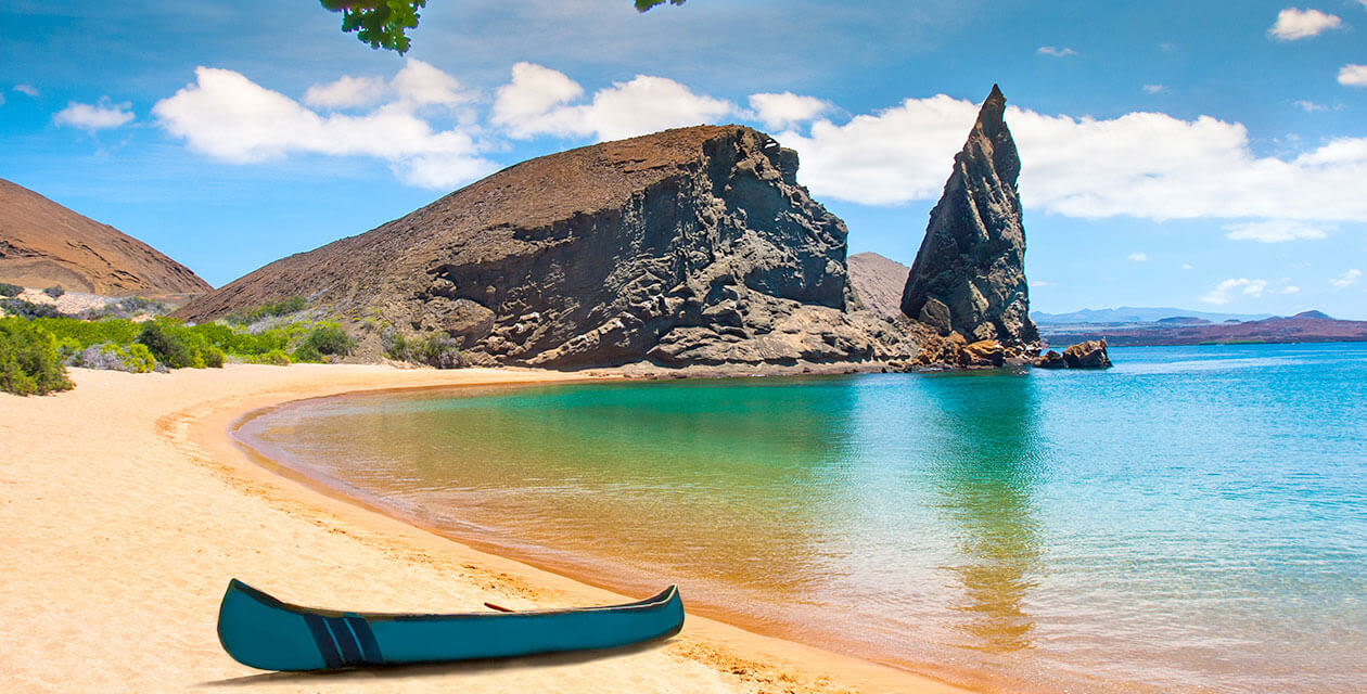canoe at a remote beach in the galapagos