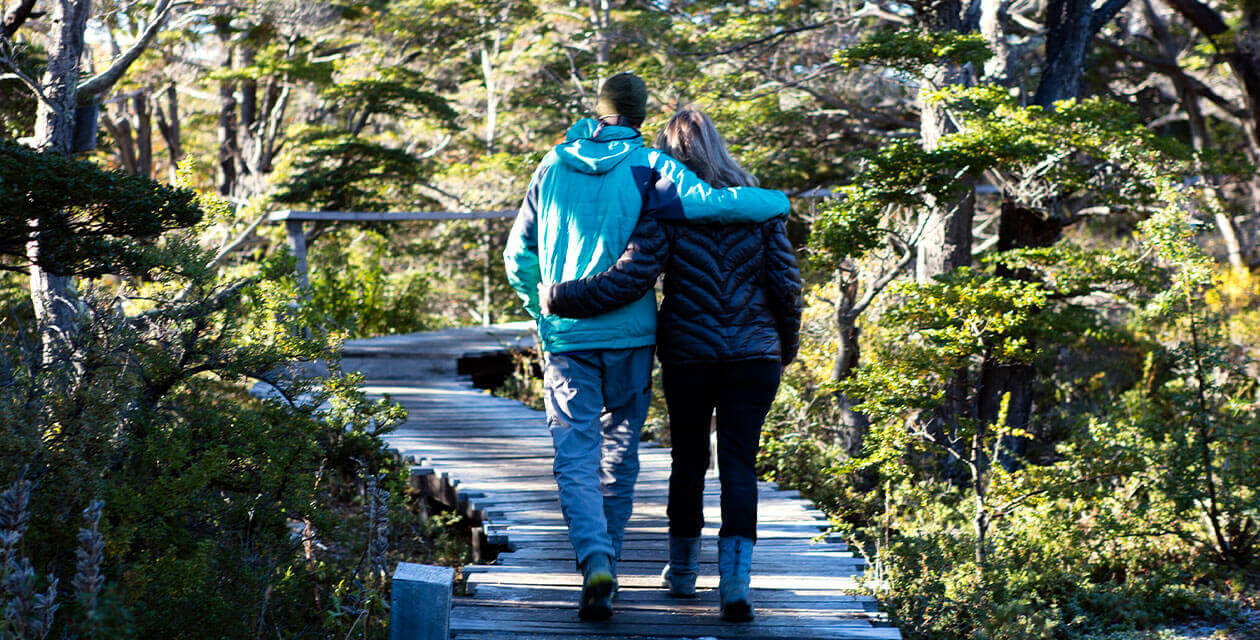 Couple hiking in patagonia