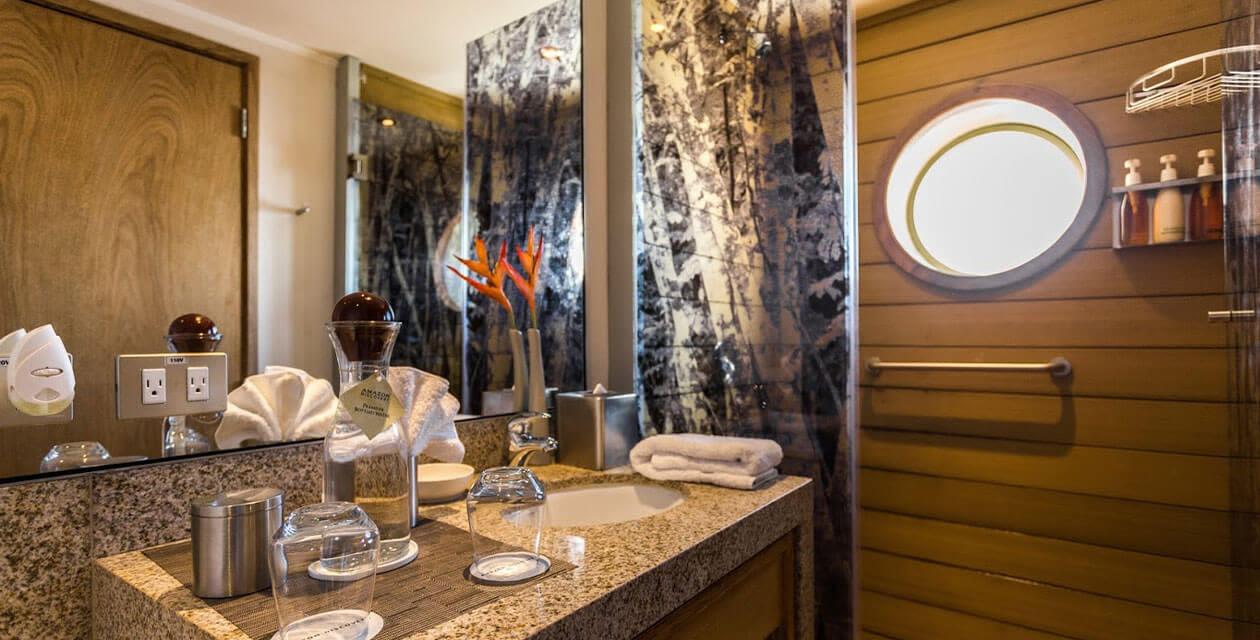 modern lodge bathroom in patagonia