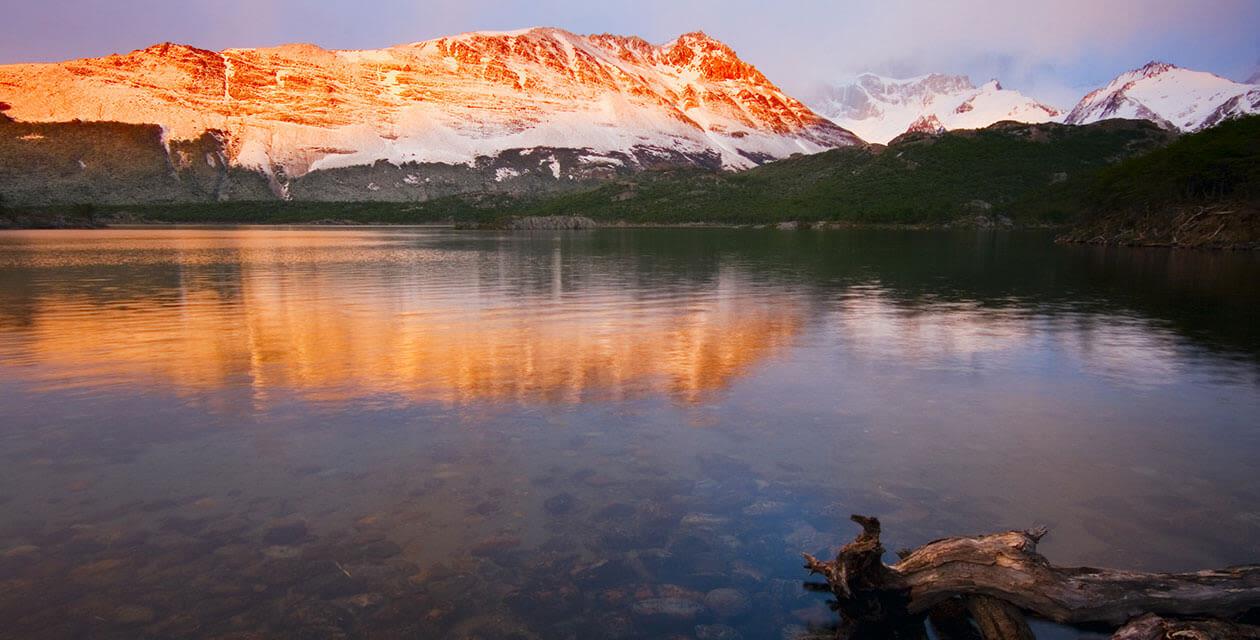 Bernardo O'Higgins park and lake during sunset