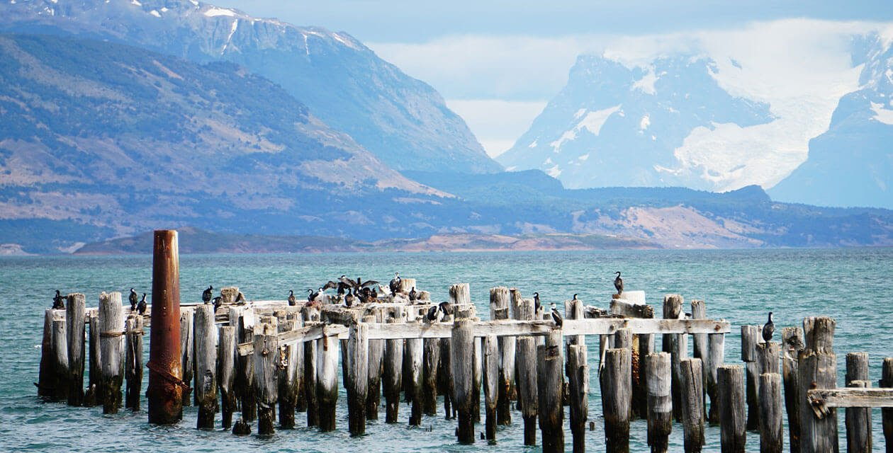 The waterfront and mmountains in puerto natales